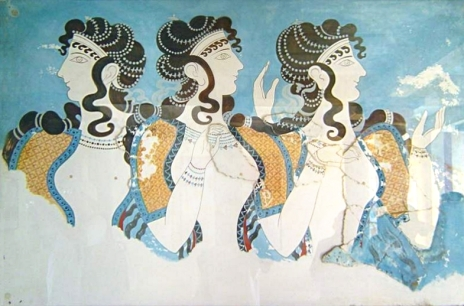 Minoan civilization, The-Ladies-in-Blue-from-Knossos-now-at-the-Archaeological-Museum-of-Iraklion